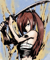 1girl erza_scarlet fairy_tail hair_over_one_eye mashima_hiro official_art ponytail red_hair sarashi sword tattoo weapon