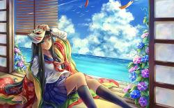 1girl aqua_eyes artist_request bird black_hair blinds blue_skirt clouds flower japanese_clothes long_hair looking_at_viewer mask plant pleated_skirt school_uniform sea seagull serafuku skirt sky smile solo