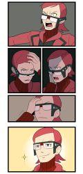adjusting_glasses comic glasses gojya male matsubusa_(pokemon) matsubusa_(pokemon)_(remake) pokemon pokemon_(game) pokemon_oras red_hair ribbed_sweater shocked_eyes short_hair silent_comic smile sweater team_magma uniform