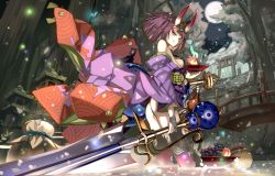 1girl :q architecture ass bare_shoulders blush breasts bridge cleavage east_asian_architecture fate/grand_order fate_(series) fireflies food fruit gourd grapes horns huge_weapon japanese_clothes kimono light_particles long_sleeves looking_at_viewer obi off_shoulder oni oni_horns partially_submerged peach purple_eyes purple_hair river sakazuki sash shino_(eefy) short_hair shuten_douji_(fate/grand_order) small_breasts solo thighhighs tongue tongue_out torii weapon wide_sleeves