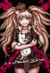1girl blue_eyes bow checkered checkered_skirt crown danganronpa danganronpa_1 enoshima_junko hair_ornament highres long_hair monokuma nail_polish necktie official_style pink_hair pointing skirt sleeves_rolled_up smile solo spoilers twintails