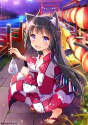 1girl animal_ears bag black_hair bow bridge cat_ears cat_tail festival fireworks fish floral_print goldfish hair_bow japanese_clothes kimono lantern long_hair long_sleeves looking_at_viewer night nyanya obi open_mouth original purple_eyes river sash smile solo squatting tail torii very_long_hair wide_sleeves