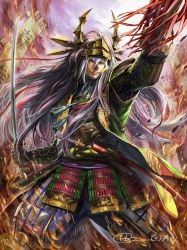 1boy arm_up armor banner brown_eyes dagger grey_hair helmet higashiyama_hayato japanese_armor katana long_hair male_focus mitsunari_ashida official_art outdoors sengoku_kishin_valkyrie sheath solo standing sword watermark weapon