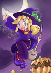1girl alternate_costume blonde_hair blue_eyes broom capcom child cloud female flat_chest full_body hat holding long_hair long_sleeves looking_at_viewer moon night open_mouth pumpkin robojanai rockman rockman_(classic) roll sky solo star witch_hat