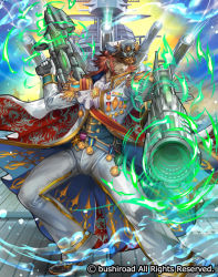 1boy beard cardfight!!_vanguard company_name epaulettes facial_hair full_body gloves gun hat jacket long_hair male_focus marine_general_of_the_furious_tides_myrtus medal military military_hat military_uniform moreshan official_art red_eyes red_hair sky solo uniform water weapon