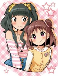 2girls bare_shoulders black_hair blush brown_eyes brown_hair character_name cocked_eyebrow double_bun fujii_tomo idolmaster idolmaster_cinderella_girls jewelry multiple_girls munakata_atsumi necklace plaid plaid_background purple_eyes semahiro short_hair smile star twintails