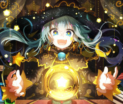 1girl bai_yemeng black_dress blue_eyes blue_hair capelet crescent crystal_ball curtains dress hatsune_miku long_hair long_sleeves looking_at_viewer open_mouth smile solo space star star-shaped_pupils symbol-shaped_pupils twintails very_long_hair vocaloid