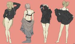 4girls ass black_hair blonde_hair bra haruno_sakura hyuuga_hinata long_hair mayauki multiple_girls naruto naruto:_the_last panties symbol temari two_side_up uchiha_symbol underwear yamanaka_ino
