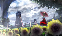 1girl ascot boots branch bridge cloud cloudy_sky collared_shirt fence field flower flower_field green_hair highres kazami_yuuka leaf long_sleeves looking_at_viewer outdoors pantyhose parasol plaid plaid_skirt plaid_vest red_eyes ryosios scenery shirt short_hair skirt skirt_set sky solo sunflower touhou tree umbrella vest white_shirt windmill