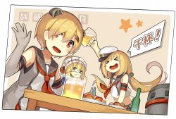 >_< 3girls :d admiral_scheer_(zhan_jian_shao_nyu) alcohol alternate_costume animal_ears armpits beer beer_mug blonde_hair blue_eyes blush blush_stickers bottle breasts cap chinese deutschland_(zhan_jian_shao_nyu) drunk dutch_angle elbow_gloves enmaided eyes_closed fake_animal_ears fang frills gloves graf_spee_(zhan_jian_shao_nyu) hair_ornament hair_over_one_eye hairclip hat lino-lin long_hair low_twintails maid maid_headdress midriff military military_hat military_uniform multiple_girls open_mouth ponytail red_eyes sailor_collar shirt short_hair sleeveless sleeveless_shirt small_breasts smile speech_bubble table text twintails uniform waving white_shirt zhan_jian_shao_nyu