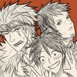 3boys eustass_captain_kid goatee goggles hat male monkey_d_luffy multiple_boys scar sketch smile stampede_string straw_hat trafalgar_law trio
