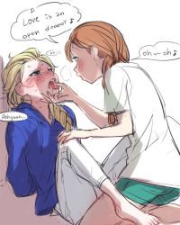 2girls a-ka anna_(frozen) barefoot between_legs blush casual elsa_(frozen) english frozen_(disney) incest jack_frost_(rise_of_the_guardians) jack_frost_(rise_of_the_guardians)_(cosplay) kneeling multiple_girls open_mouth shorts siblings singing sisters sitting tears tongue tongue_out yuri