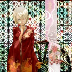 1girl blonde_hair blue_eyes branch female finger_to_mouth floral_print highres japanese_clothes kagamine_rin kimono looking_at_viewer nine_(plantroom9) one_eye_closed original quareallel_(vocaloid) short_hair solo vocaloid wheel