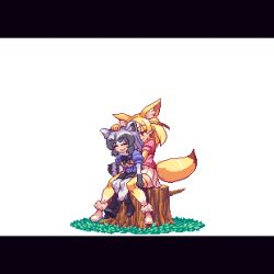 2girls animal_ears animated animated_gif black_hair blonde_hair bow bowtie fennec_(kemono_friends) fox_ears fox_tail fur_trim gloves hug kemono_friends migel_futoshi multicolored_hair multiple_girls open_mouth pantyhose petting pixel_art raccoon_(kemono_friends) raccoon_ears short_hair short_sleeves simple_background sitting sitting_on_lap sitting_on_person skirt smile tail tail_wagging tree_stump white_background