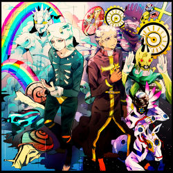 black_border border brothers bullet c-moon_(stand) cd cloud coin enrico_pucci frog gears highres horns jewelry jojo_no_kimyou_na_bouken made_in_heaven_(stand) perla_pucci rainbow ring robe siblings sky snail stand_(jojo) star_(sky) starry_sky weather_report weather_report_(stand) white_hair whitesnake_(stand) yyy246