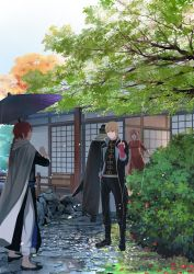 1girl 3boys blue_eyes brother_and_sister brown_hair china_dress chinese_clothes dress father_and_daughter father_and_son gintama highres kagura_(gintama) kamui_(gintama) loli_bushi middle_finger multiple_boys okita_sougo orange_hair oriental_umbrella pregnant red_eyes siblings spring_(season) tree umbrella umibouzu_(gintama)
