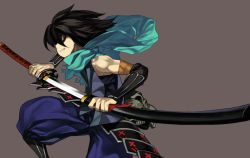 1boy 92m armor black_hair japanese_clothes katana kimono kisuke kusazuri oboro_muramasa scabbard scarf sheath skull solo sword unsheathing weapon