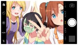 3girls :d :o :| ayase_eli black_hair blonde_hair blue_eyes blurry blush brown_hair bunny_ears_gesture cardigan closed_mouth collarbone commentary cucumber facial_mask kousaka_honoka long_hair long_sleeves looking_at_viewer love_live! love_live!_school_idol_project multiple_girls one_side_up open_cardigan open_clothes open_mouth phone_screen ponytail purple_sweater red_eyes scrunchie self_shot shuca_ca side_ponytail smile sweatdrop sweater translation_request v viewfinder yazawa_nico