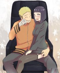 1boy 1girl armchair artist_request bandaged_arm bangs blonde_hair blunt_bangs blush bob_cut chair garter_straps hime_cut husband_and_wife hyuuga_hinata lavender_eyes naruto no_pupils purple_hair sitting sitting_on_lap sitting_on_person skirt skirt_lift smile source_request spiked_hair sweatdrop thighhighs uzumaki_naruto