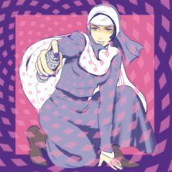 1girl boots brown_boots cape cream_starter_(stand) hat hot_pants_(sbr) jojo_no_kimyou_na_bouken kneeling nail_polish nun purple_nails solo stand_(jojo) steel_ball_run tena_(uchi_92)