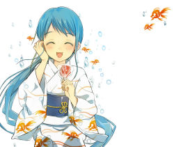 1girl ^_^ blue_hair blush bubble candy_apple eyes_closed fish goldfish japanese_clothes kantai_collection kimono long_hair open_mouth rand_(artist) samidare_(kantai_collection) solo very_long_hair white_background yukata
