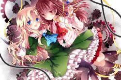2girls blonde_hair blue_eyes brown_hair dress flower gears ib ib_(ib) long_hair mary_(ib) multiple_girls nogi_takayoshi palette_knife red_eyes ribbon rose