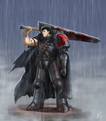 armor artificial_arm berserk black_hair blood cape dragonslayer_(sword) guts highres huge_weapon knife male rain scar space_marine sword tapped_fist throwing_knife warhammer_40k weapon