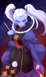 10s 1girl absurdres artist_name blue_lipstick blue_skin cowboy_shot cross_uook dragon_ball dragon_ball_super hair_between_eyes hair_tie hand_on_own_chest highres holding holding_staff lipstick long_hair long_sleeves looking_at_viewer makeup marcarita night night_sky open_mouth puffy_long_sleeves puffy_sleeves purple_eyes sash sky solo staff star_(sky) starry_sky tabard text turtleneck twintails twitter_username watermark white_hair