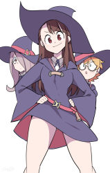 3girls :o ass bangs blunt_bangs blush breasts brown_hair closed_mouth collared_shirt dress glasses hair_over_one_eye half-closed_eyes hand_on_hip hat kagari_atsuko legs little_witch_academia long_hair long_sleeves looking_at_viewer lotte_yanson multiple_girls open_mouth pink_hair red_eyes shirt short_hair simple_background smile standing sucy_manbavaran white_background wide_sleeves wind wind_lift witch witch_hat yuuki_hb