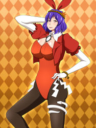 1girl adapted_costume animal_ears breasts bunny_ears cleavage hair_ornament hand_behind_head highres lactone large_breasts leotard looking_at_viewer purple_hair red_eyes rope shimenawa short_hair smile snake solo touhou yasaka_kanako