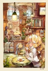 1boy 2girls bird blonde_hair chair coffee cup eyes_closed matsuda_(matsukichi) multiple_girls original restaurant saucer sitting sleeping solo_focus teacup