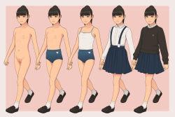 black_hair blue_skirt costume_chart loli multiple_girls pleated_skirt ponytail pussy school_uniform shinchou_ni_kansuru_kousatsu shorts sweater topless
