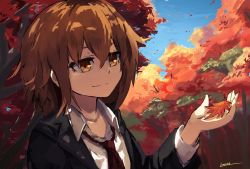 1girl artist_name autumn_leaves brown_eyes brown_hair jacket kantai_collection lansane leaf light_smile long_sleeves maple_leaf matching_hair/eyes necktie outdoors red_necktie short_hair sky smile solo spring_(season) upper_body wakaba_(kantai_collection)
