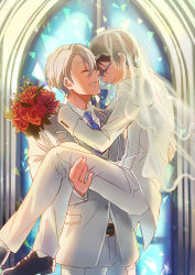 2boys black_hair black_shoes blue-framed_eyewear bouquet bridal_veil carrying church couple eyes_closed flower forehead-to-forehead formal glasses grin highres husband_and_husband jacket jewelry kagura_kurosaki katsuki_yuuri long_sleeves male_focus matching_outfit multiple_boys necktie pants princess_carry rimless_glasses ring shoes silver_hair smile suit veil viktor_nikiforov wedding white_jacket white_pants white_suit window wing_collar yaoi yuri!!!_on_ice