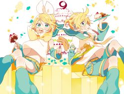 +_+ 1boy 1girl 4_(nakajima4423) anniversary aqua_eyes belt birthday_cake blonde_hair blush bow brother_and_sister cake chewing cream cream_on_face detached_sleeves doughnut eating floating floating_hair floating_object flower food food_in_mouth food_on_face fork hair_bow hair_ornament hairclip headphones headset holding holding_food holding_plate kagamine_len kagamine_rin leg_warmers midriff mouth_hold navel necktie pancake petals piano_keys plate sailor_collar short_hair short_ponytail shorts siblings sitting star star-shaped_pupils symbol-shaped_pupils syrup twins vocaloid yellow_necktie
