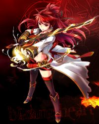 1girl asymmetrical_clothes black_legwear boots coat elesis elsword fingerless_gloves fire gloves half_updo knee_boots kuroshio_maki long_hair midriff navel red_background red_eyes red_hair serious shorts single_pantsleg single_thighhigh solo standing sword thighhighs weapon zoom_layer