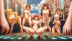 5girls arms_up audience blake_belladonna blonde_hair breast_suppress breasts brown_eyes brown_hair cat_ears crowd exhibitionism grabbing_own_breast hand_in_hair high_heels kneeling kuon_(kwonchanji) large_breasts leaning_forward long_hair looking_at_viewer medium_breasts multiple_girls navel nipples nude pink_hair ponytail public public_nudity pussy pyrrha_nikos ruby_rose rwby short_hair signature silver_hair smile spread_legs squatting thighs toned uncensored very_long_hair weiss_schnee yang_xiao_long