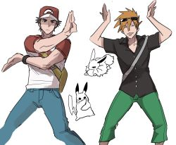 2boys arms_up baseball_cap black_shirt brown_hair capri_pants eevee green_pants hat male_focus multiple_boys older ookido_green ookido_green_(sm) pants pikachu pokemon pokemon_(game) pokemon_sm popped_collar pose red_(pokemon) red_(pokemon)_(sm) shirt short_hair simple_background smirk spiked_hair sunglasses sunglasses_on_head t-shirt toumas white_background z-move
