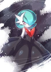 alternate_color alternate_form blue_hair gardevoir hair_over_one_eye mega_gardevoir nintendo no_humans orange_eyes pokemon pokemon_(game) pokemon_xy shiny_pokemon short_hair smile solo youki_(yuyuki000)