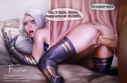 1boy 1girl anus artist_name ashe_(league_of_legends) ass blue_eyes clothed_female_nude_male elbow_gloves fingerless_gloves firolian league_of_legends nail_polish open_mouth parted_lips penis pubic_hair pussy pussy_juice sex speech_bubble teeth thighhighs uncensored vaginal web_address white_hair