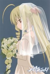 1girl ahoge blonde_hair dress drill_hair flower hairband hata_kenjirou hayate_no_gotoku! highres jewelry necklace red_eyes tennousu_athena veil wedding_dress