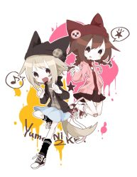 2girls :p animal_ears animal_hat badge bandaid bandaid_on_face bandaid_on_knee bangs bare_legs black_legwear black_shoes blonde_hair blue_skirt blush braid brown_eyes brown_hair brown_hat brown_jacket button_badge cat_hat cat_tail converse fang flat_chest happy hat highres hood hood_down hooded_jacket jacket jumping kneehighs long_sleeves looking_at_viewer madotsuki miniskirt mononomo616 multiple_girls musical_note open_clothes open_jacket open_mouth paint_splatter pink_jacket plaid plaid_shirt pleated_skirt quaver red_hat red_shirt red_shoes red_skirt shirt shoes short_hair sidelocks simple_background skirt sneakers star striped striped_legwear tail tongue tongue_out turtleneck twin_braids twintails urotsuki w white_background white_legwear wolf_ears wolf_tail yume_2kki yume_nikki