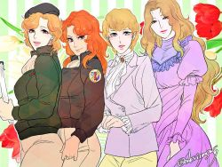 4girls annerose_von_grunewald beret blonde_hair frederica_greenhill ginga_eiyuu_densetsu hildegard_von_mariendorf katerose_von_kreutzer military_uniform multiple_girls onakasuita_(onksitmsms) red_hair tagme