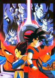 5boys back-to-back bald bardock beard black_eyes black_hair brothers dougi dragon_ball dragonball_z dual_persona facial_hair father_and_son fingernails grin highres king_vegeta looking_at_viewer looking_away multiple_boys nappa official_art oozaru raditz scouter serious short_hair siblings smile son_gokuu space_craft spiked_hair vegeta wristband