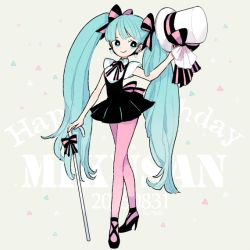 1girl aqua_eyes aqua_hair cane hat hatsune_miku high_heels l_hakase long_hair pantyhose pink_legwear simple_background smile solo top_hat twintails very_long_hair vocaloid