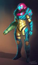 1girl absurdres alternate_costume arm_cannon dave_lopez full_body fusion_suit helmet highres metroid metroid_fusion power_armor samus_aran solo weapon