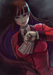 1girl brown_hair card cheek_bump dutch_angle eyelashes facing_viewer fingernails hair_blowing hime_cut jabami_yumeko kakegurui kushizukino_ayame lips long_hair nail_polish pale_skin playing_card purple_eyes red_eyes red_nails red_pupils red_suit rock_paper_scissors smirk solo suit_jacket very_long_hair you_gonna_get_raped
