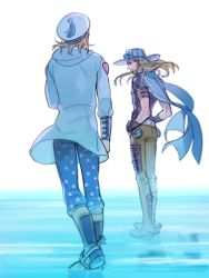 2boys arm_warmers blonde_hair boots cape from_behind full_body gyro_zeppeli hands_on_hips hat hood hoodie johnny_joestar jojo_no_kimyou_na_bouken long_hair looking_at_another looking_back multiple_boys pants reammara sailor_hat short_hair simple_background spurs standing star star_print steel_ball tassel walking white_background