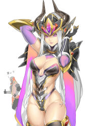 !! 1boy 1girl arm_up armor black_gloves black_legwear breasts cleavage closed_mouth cowboy_shot eyelashes forehead_jewel gloves gradient hand_up helmet highleg highres horns kumiko_shiba large_breasts league_of_legends leotard long_hair looking_at_viewer medium_breasts pauldrons pink_lips purple_eyes revealing_clothes silver_hair simple_background skindentation smile solo_focus strapless strapless_leotard syndra thigh_gap thighhighs thumbs_up vambraces very_long_hair white_background white_hair zed_(league_of_legends)