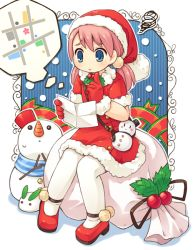 1girl bag belt blue_eyes blush blush_stickers carrot christmas dress gloves handbag hat long_hair map mistletoe mizuno_mumomo original outline pantyhose pink_hair sack santa_costume santa_hat shadow shoes sitting snow_bunny snowman solo squiggle thought_bubble twintails